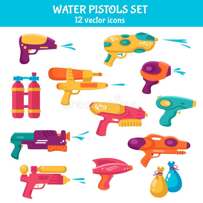 Uppsättning för vattenvapen stock illustrationer