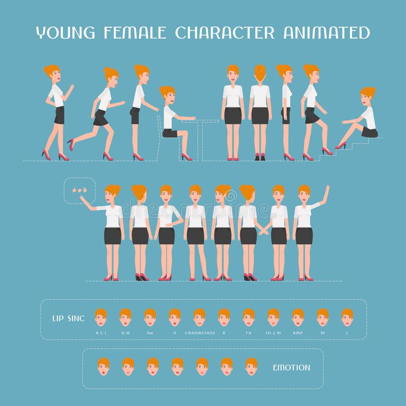 Uppsättning för vektor för animering för kvinnligt tecken för tecknad film Konstruktör av kvinnan vektor illustrationer