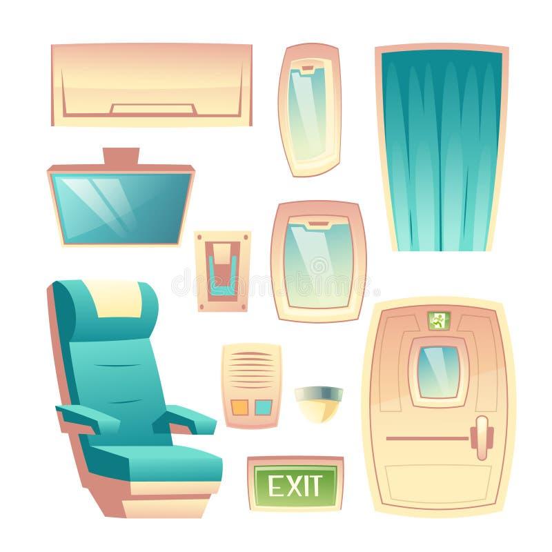 Uppsättning för vektor för beståndsdel för design för trafikflygplansalonginre stock illustrationer