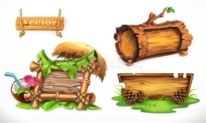 uppsättning för vektor 3d med wood baner royaltyfri illustrationer