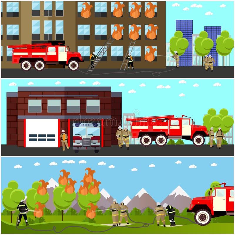 Uppsättning för vektor för baner för avdelning för brandstridighet horisontal Station och brandmän stock illustrationer