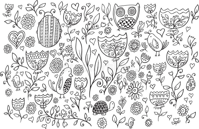 Uppsättning för vektor för blommafågelklotter stock illustrationer