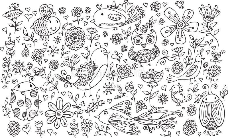 Uppsättning för vektor för blommafågelklotter vektor illustrationer