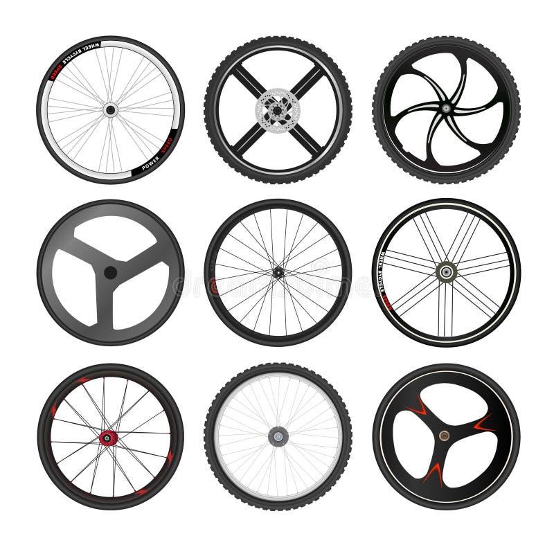 Uppsättning för vektor för cykelhjul vektor illustrationer