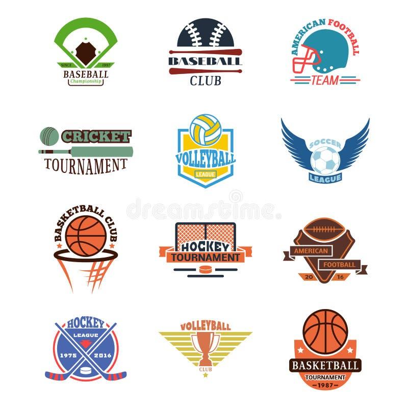 Uppsättning för vektor för emblem för sportlag royaltyfri illustrationer