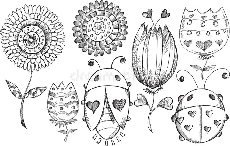Uppsättning för vektor för fel för klottervårblomma royaltyfri illustrationer