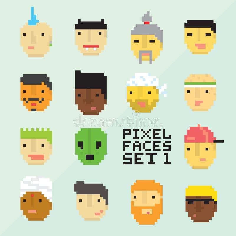 Uppsättning 1 för vektor för framsidor för avatar för tecknad film för PIXELkonststil 15 royaltyfri illustrationer