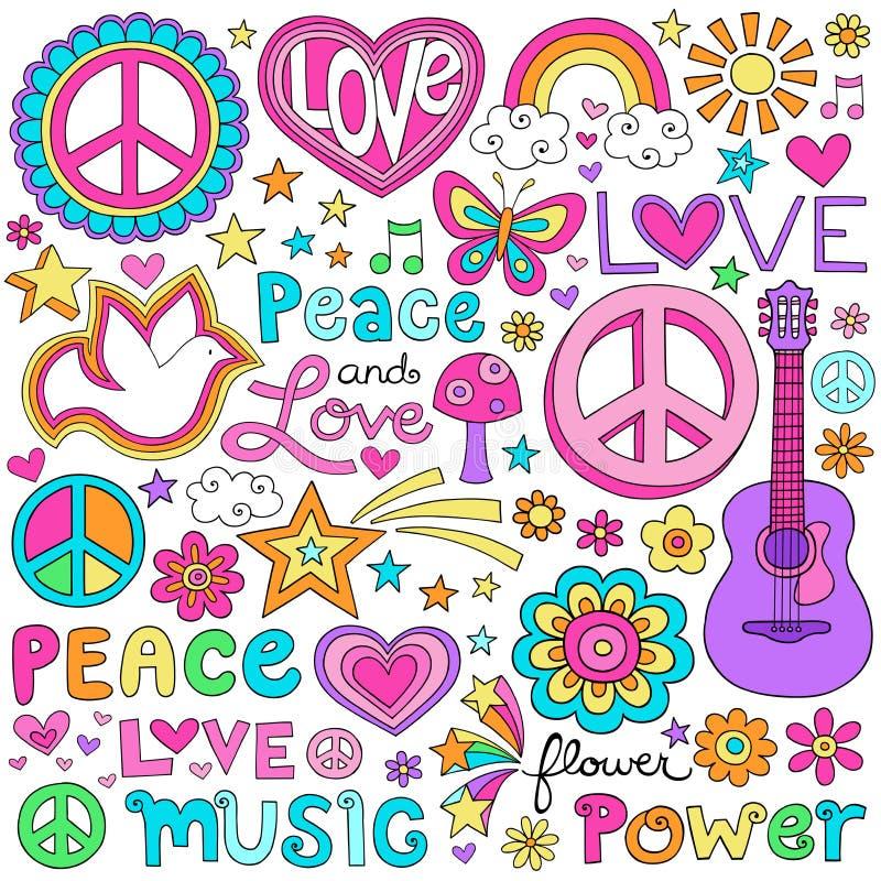 Uppsättning för vektor för fredförälskelse- och musikanteckningsbokklotter stock illustrationer