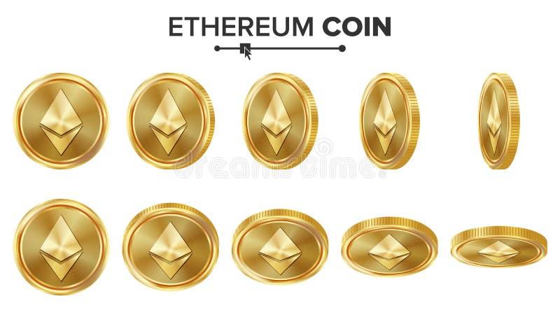 Uppsättning för vektor för guld- mynt för Ethereum mynt 3D realistiskt Flip Different Angles Digital valutapengar isolerat framfö royaltyfri illustrationer