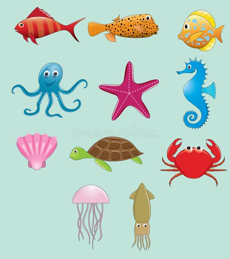Uppsättning för vektor för havsdjur royaltyfri illustrationer