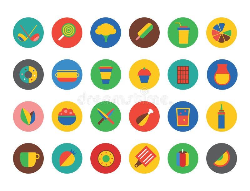 Uppsättning för vektor för kökmatsymboler Frukt matställe eller vektor illustrationer