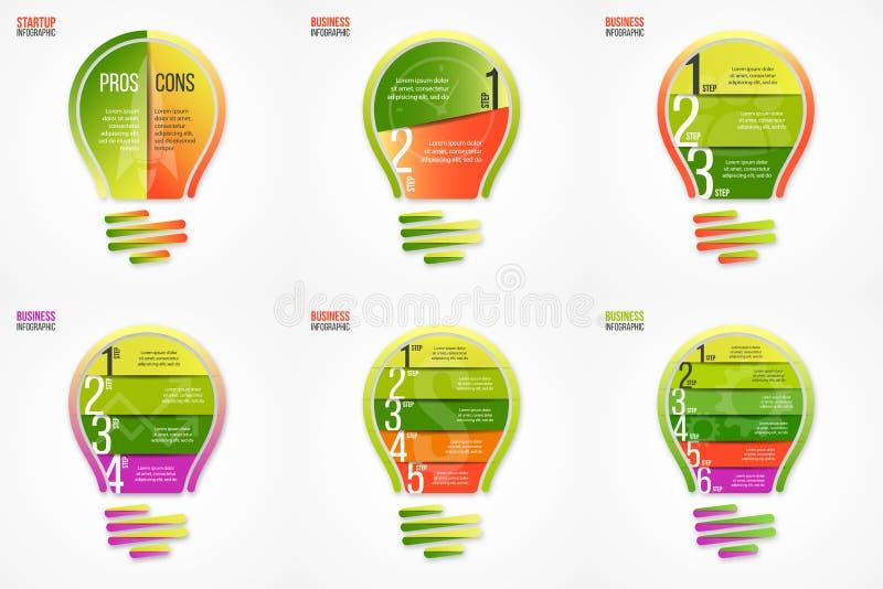 Uppsättning för vektor för ljus kula infographic av mallar royaltyfri illustrationer