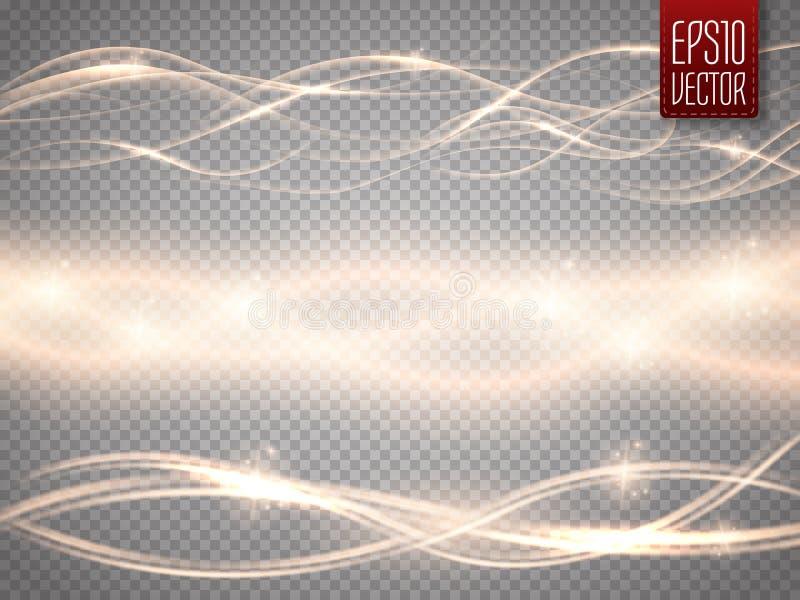Uppsättning för vektor för ljus våg för glöd för abstrakt begrepp slät på genomskinlig bakgrund royaltyfri illustrationer