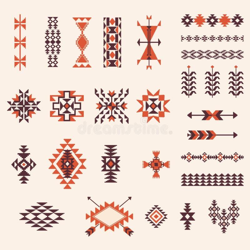 Uppsättning för vektor för modell för indiannavajo aztec royaltyfri illustrationer