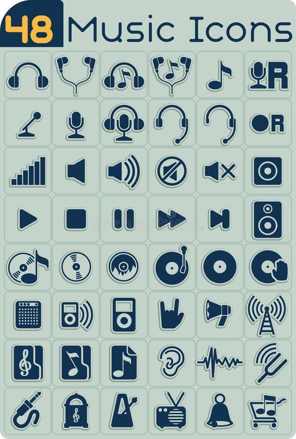 Uppsättning för vektor för 48 musiksymboler stock illustrationer