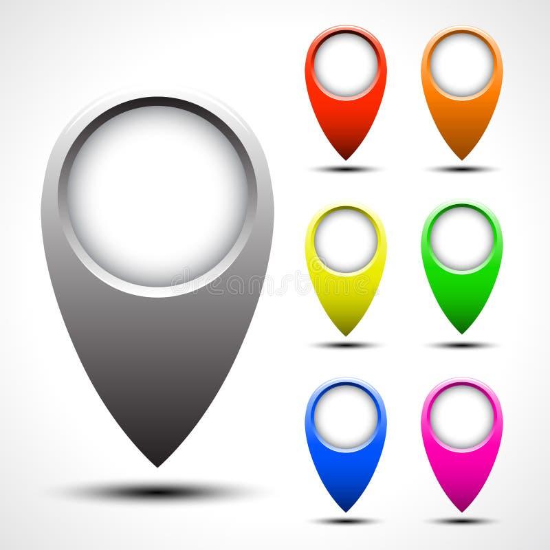 Uppsättning för vektor för pekare för färgöversikt vektor illustrationer