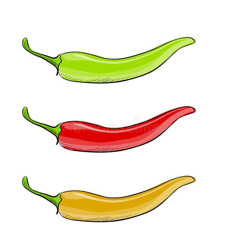 Uppsättning för vektor för peppar för varm chili som isoleras på vit bakgrund royaltyfri illustrationer