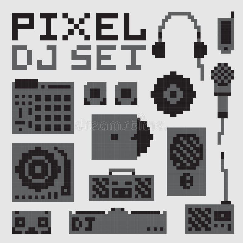 Uppsättning för vektor för PIXELkonstdj stock illustrationer