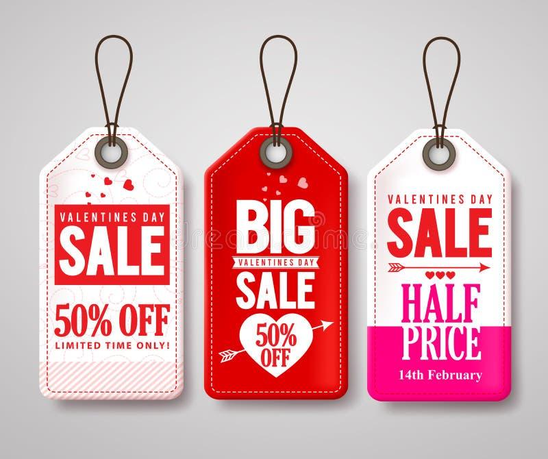 Uppsättning för vektor för prislappar och för etiketter för valentindagförsäljning med halvt pris stock illustrationer