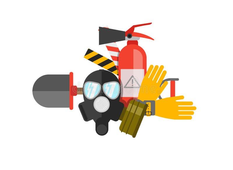 Uppsättning för vektor för säkerhetsutrustning Brandskydd och brand En gasmask vektor illustrationer