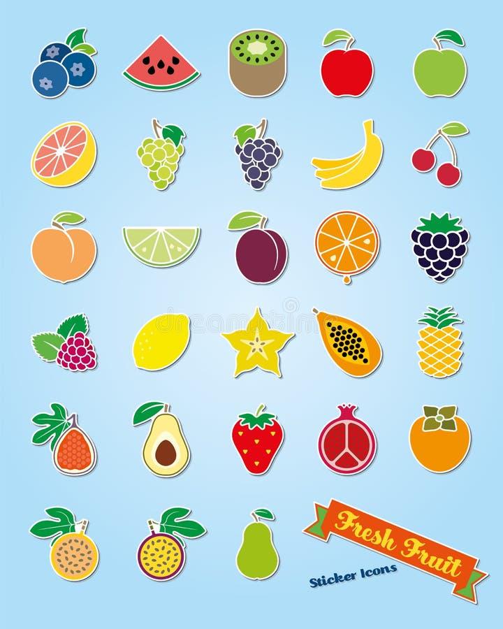 Uppsättning för vektor för symbol för fruktsortimentklistermärke royaltyfri illustrationer