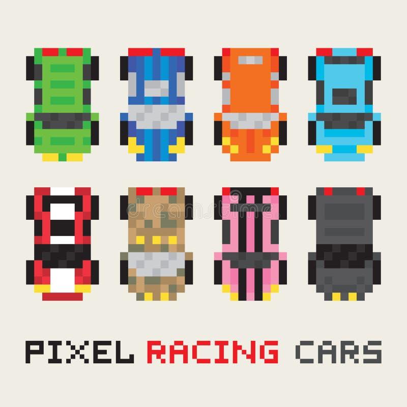 Uppsättning för vektor för tävlings- bilar för PIXELkonststil royaltyfri illustrationer