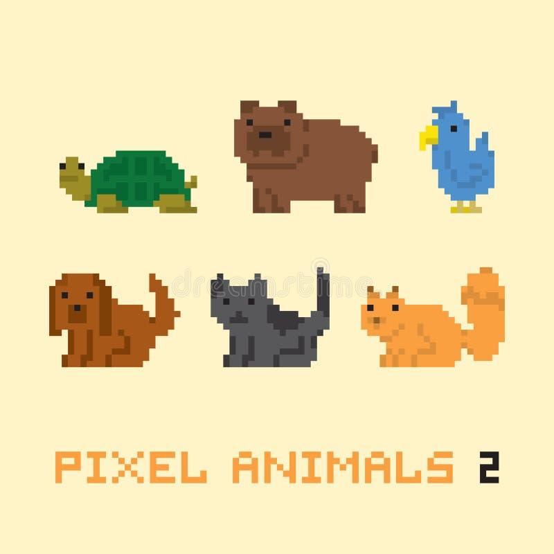 Uppsättning 2 för vektor för tecknad film för djur för PIXELkonststil royaltyfri illustrationer