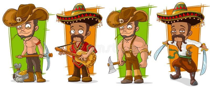 Uppsättning för vektor för tecknad filmmexikan- och cowboytecken stock illustrationer