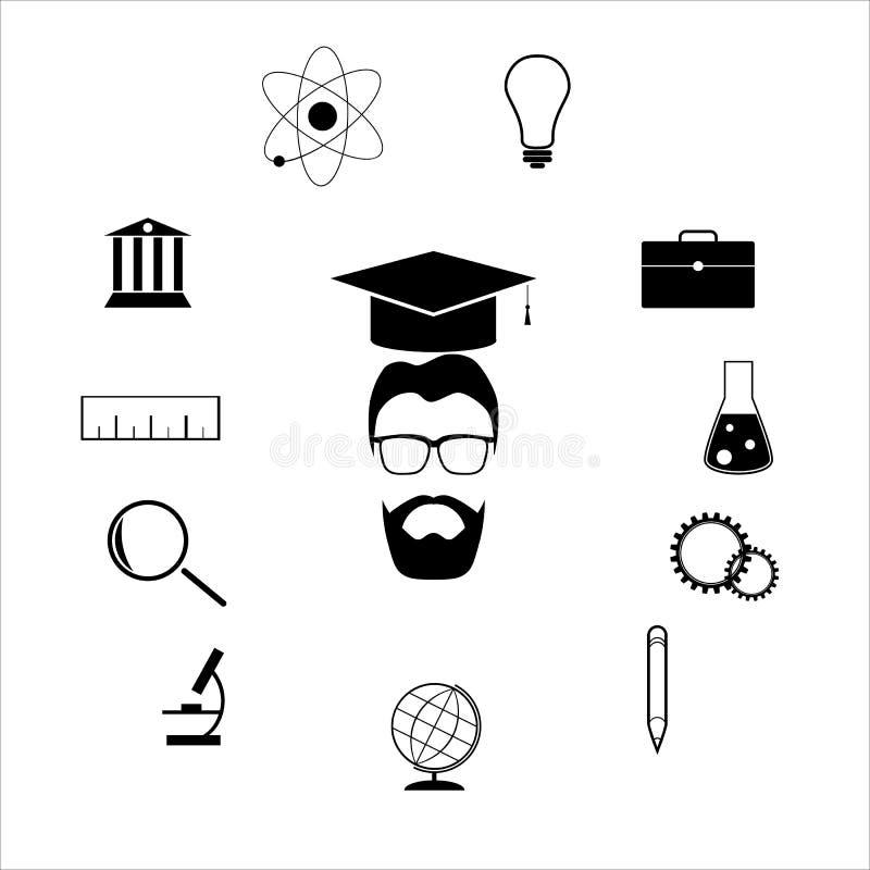Uppsättning för vektor för utbildnings- och vetenskapsprofessorbegrepp vektor illustrationer