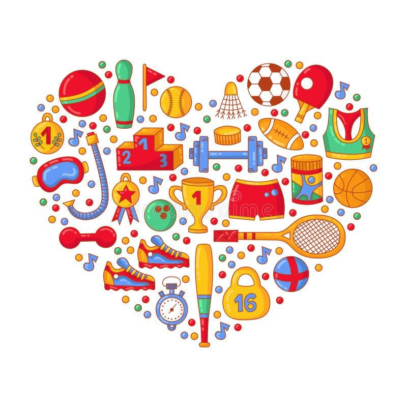 Uppsättning för vektor för form för hjärta för symboler för sportklotter färgrik vektor illustrationer