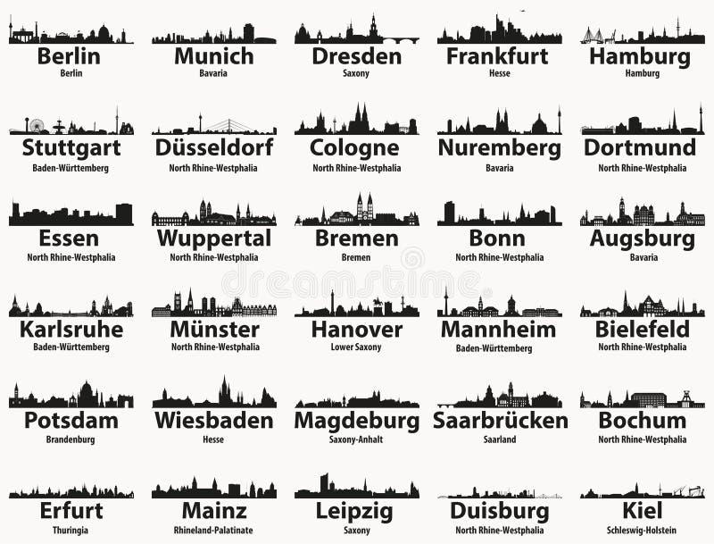 Uppsättning för vektor för konturer för horisonter för störst städer för Tyskland vektor illustrationer