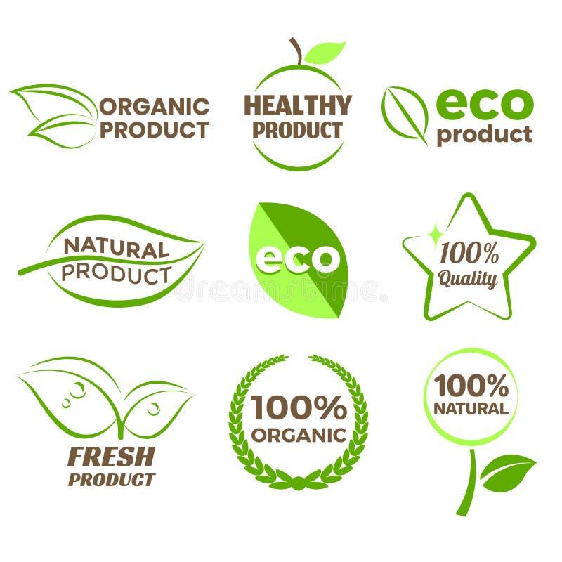 Uppsättning för vektor för organiskt produktlogo foto för symboler för Eco realistisk vektor illustrationer