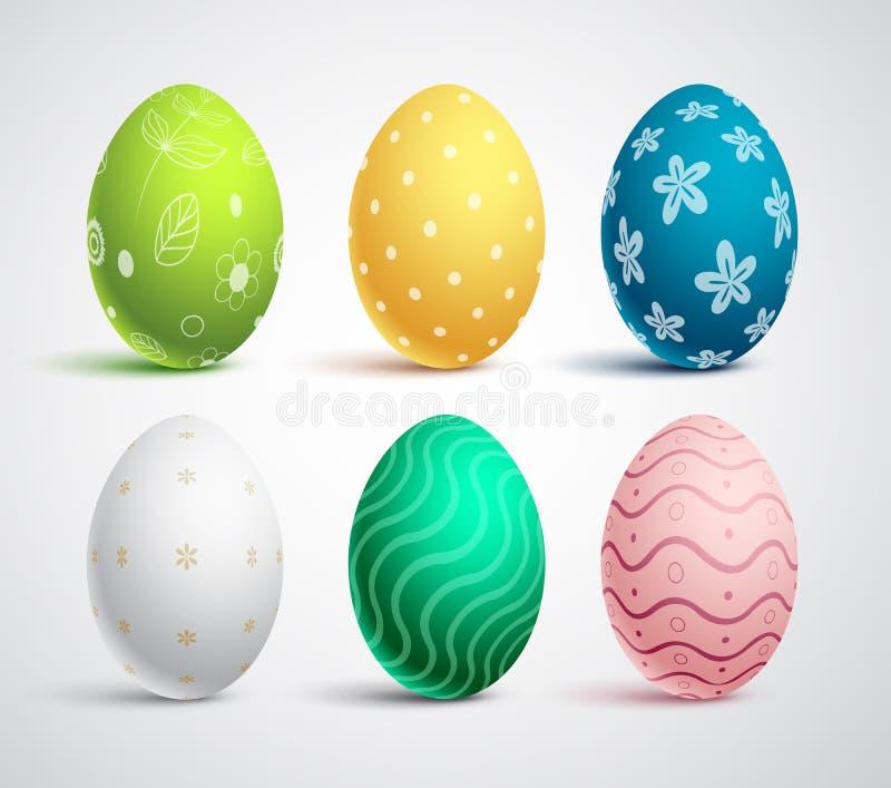 Uppsättning för vektor för påskägg med färger och modeller Isolerade färgrika ägg stock illustrationer