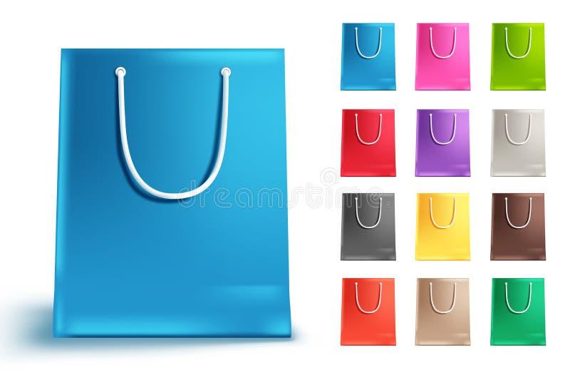 Uppsättning för vektor för shoppingpåsar som isoleras i vit Färgrik samling för pappers- påse stock illustrationer
