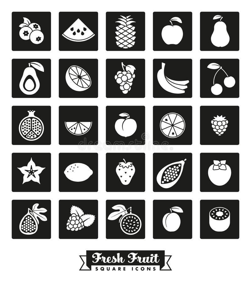 Uppsättning för vektor för symbol för fruktsortiment fyrkantig royaltyfri illustrationer