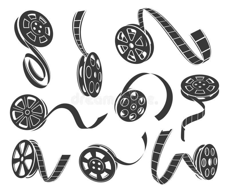 Uppsättning för vektor för symboler för filmrulle som isoleras från bakgrund vektor illustrationer