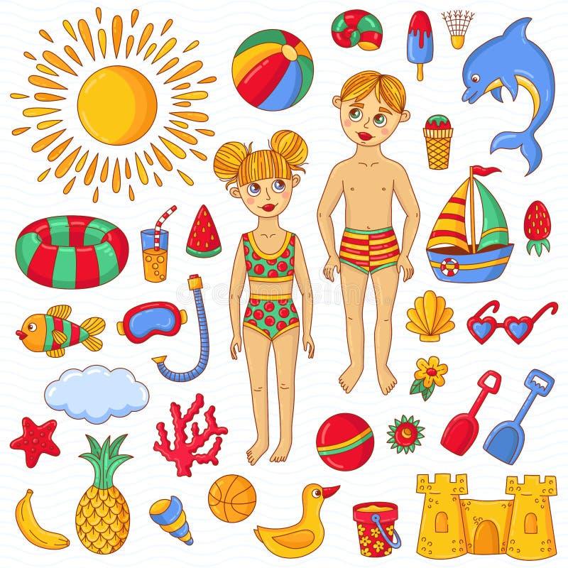 Uppsättning för vektor för symboler för klotter för symboler för tecken för leksaker för sommarstrandbarn vektor illustrationer