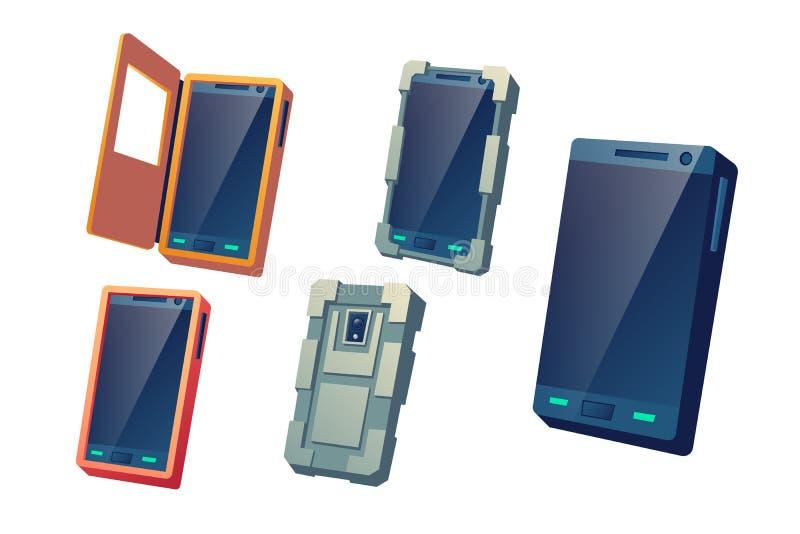 Uppsättning för vektor för tecknad film för skyddande räkningar för mobiltelefoner stock illustrationer
