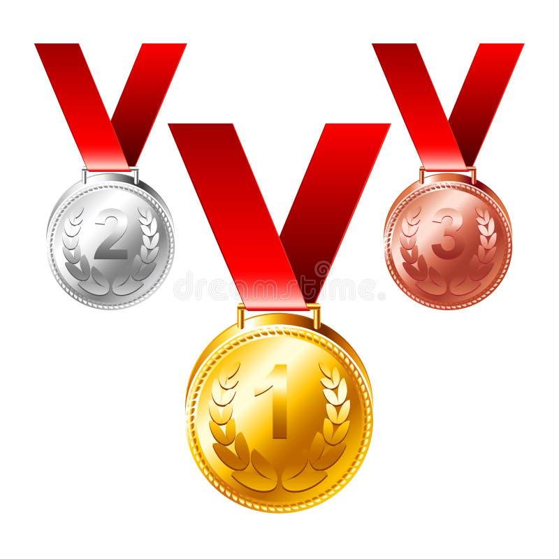 Uppsättning för vektor för utmärkelser för guldsilverbronsmedaljer tre vektor illustrationer