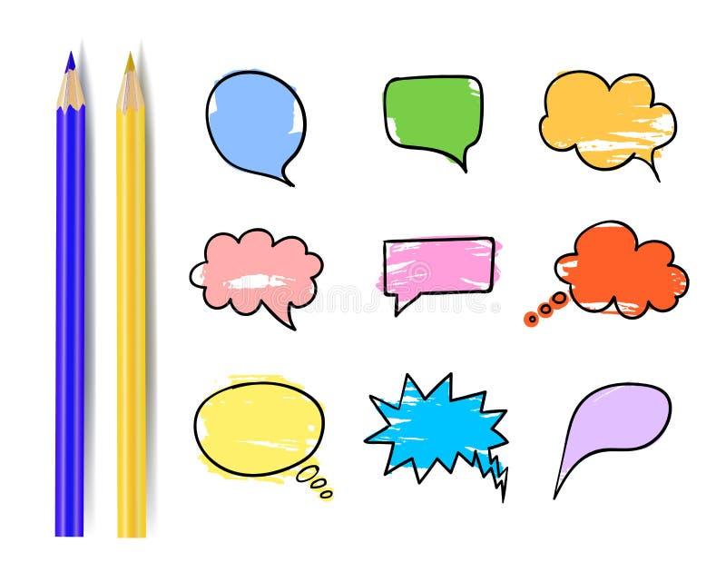 Uppsättning för vektoranförandebubblor, färgrik designbeståndsdelsamling med blyertspennor, komikeraskar vektor illustrationer