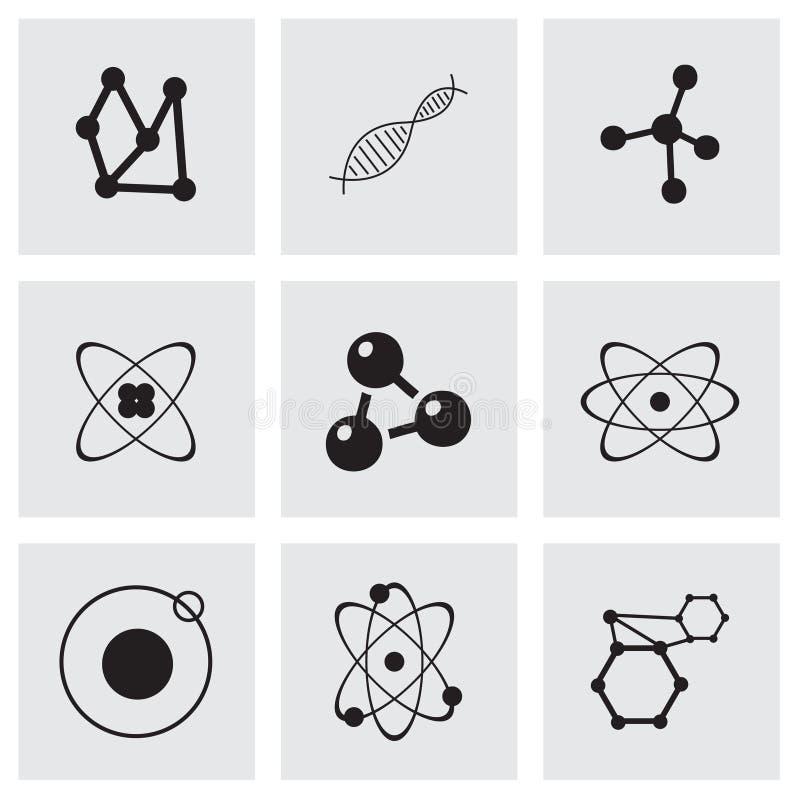 Uppsättning för vektoratomsymbol royaltyfri illustrationer