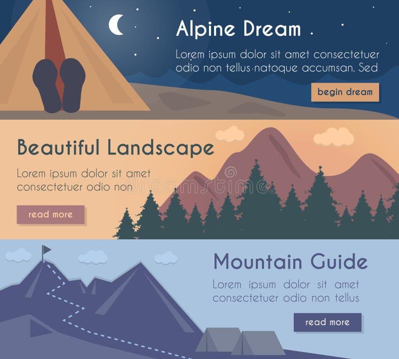 Uppsättning för vektorbanerillustration - berg som fotvandrar i det härliga landskapet med berghandboken royaltyfri illustrationer