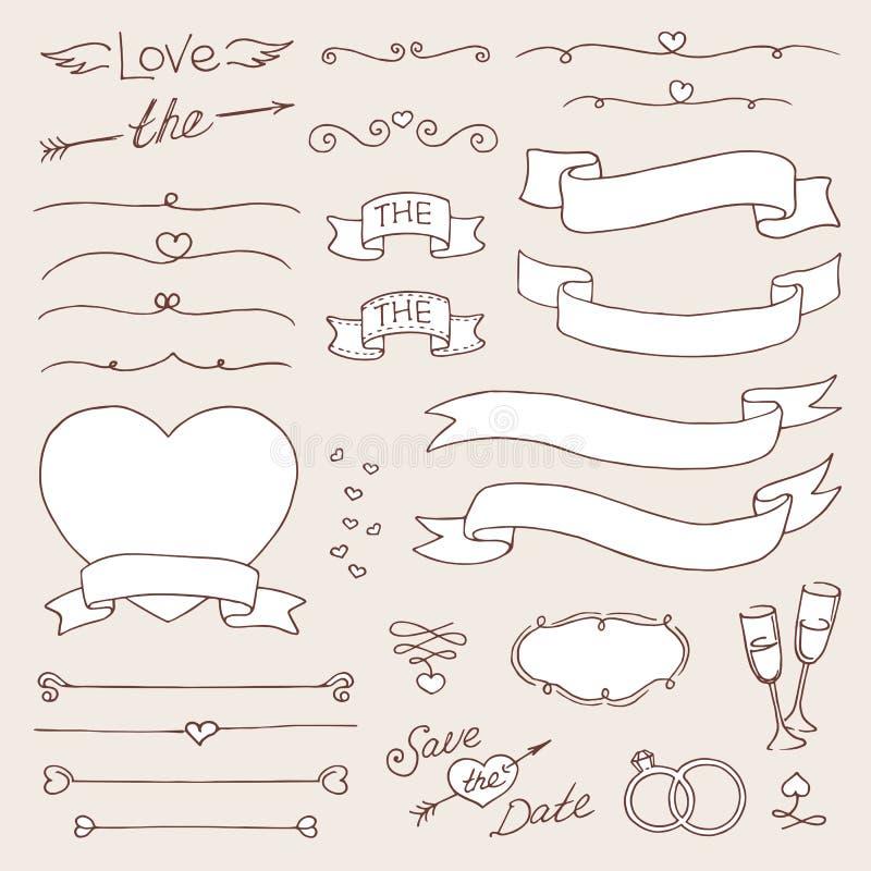 Uppsättning för vektorbrölloptappning av designbeståndsdelar svartvit mall royaltyfri illustrationer