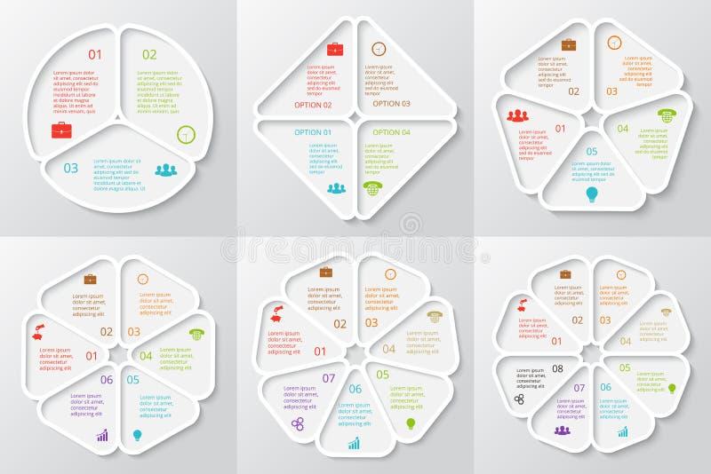 Uppsättning för vektorcirkelbeståndsdelar för infographic royaltyfri illustrationer