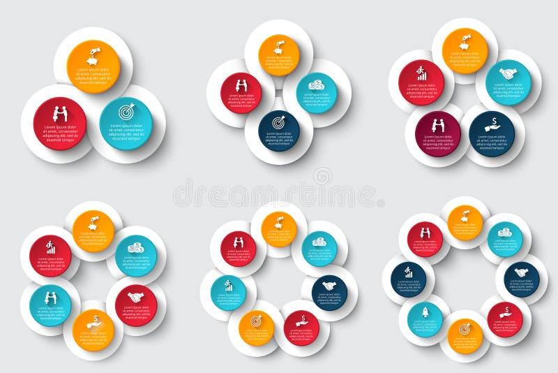 Uppsättning för vektorcirkelbeståndsdelar för infographic vektor illustrationer