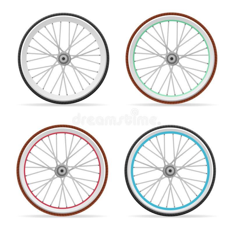 Uppsättning för vektorcykelhjul stock illustrationer