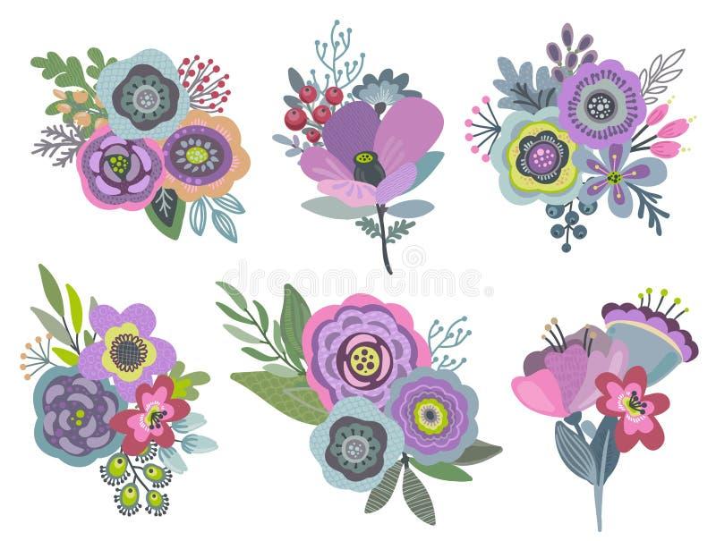 Uppsättning för vektordiagram med härliga blom- buketter vektor illustrationer