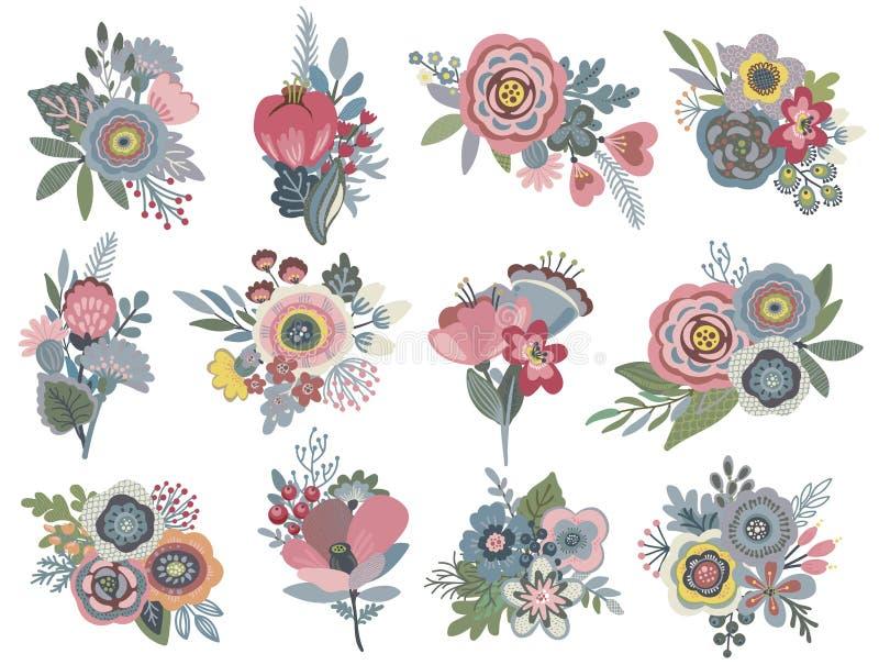 Uppsättning för vektordiagram med härliga blom- buketter stock illustrationer