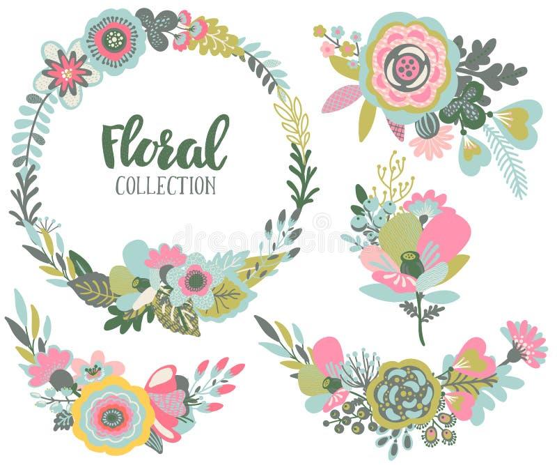 Uppsättning för vektordiagram med härliga blommor, blom- krans, buketter vektor illustrationer