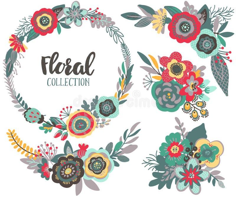 Uppsättning för vektordiagram med härliga blommor, blom- krans, buketter royaltyfri illustrationer